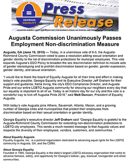 Augusta Commissson Expands EEO Policy
